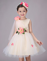 Girl's Cotton Summer Vanilla French  One-shoulder  Jumper Skirt  Lace Dress