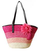 Fashion Woman Bag Striped Natural Straw Bags Woven Straw Shoulder Bag Handbag Lady Tourist Beach Bag