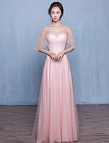 Formal Evening Dress A-line Sweetheart Floor-length Tulle with Pearl Detailing