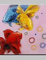 Lager Hand Painted Modern Goldfish Oil Painting On Canvas Wall Art Picture For Home Whit Frame Ready To Hang 100x100cm