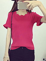Women's Solid Pink / Red / White / Black Pullover,Street chic Short Sleeve