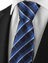 KissTies Men's Tie Navy Dark Blue Striped Plaid Necktie Wedding/Business/Party/Work/Casual With Gift Box