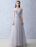Formal Evening Dress A-line Bateau Floor-length Tulle with Appliques / Beading / Pearl Detailing