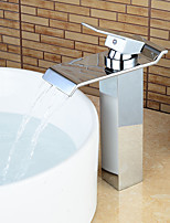 Contemporary Heightening Chrome Waterfall Bathroom Sink Faucets