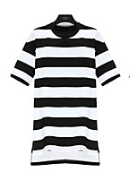Women's Casual/Daily / Plus Size Street chic Dress,Striped Round Neck Above Knee Short Sleeve Black Cotton Summer
