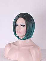 Cheap Black Mixed Mint Green Wig African American Short Wigs For Black Women Ombre Wig Heat