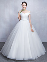Ball Gown Wedding Dress Floor-length Off-the-shoulder Tulle with Criss-Cross
