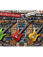 millésime effet cuir shinny grand fond d'écran mural guitare coloré mur papier décor de mur d'art de briques