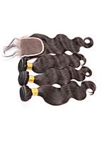 brasilianisches reines Haar mit Verschluss brasilianisches Menschenhaar Webart 3 Bündel brasilianische Körperwelle mit Spitze Schließung