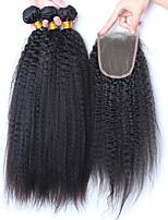 pelo virginal brasileño con cierre de cierre con 3 paquetes de rizado recto con haces de pelo humano de cierre con cierres
