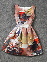 Girl's Orange Dress,Print Polyester Summer
