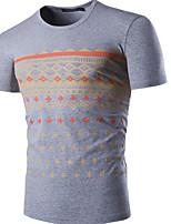 Print-Informeel / Werk / Formeel / Sport-Heren-Katoen-T-shirt-Korte mouw Blauw / Grijs