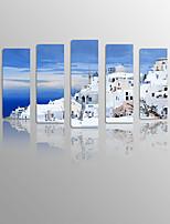 Stampa trasferimenti su tela Paesaggi / Natura morta / Tempo libero Modern / Classico / Mediterraneo / Stile europeo,Cinque Pannelli Tela