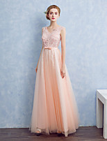 Formal Evening Dress Ball Gown V-neck Floor-length Satin / Tulle with Beading / Bow(s) / Lace