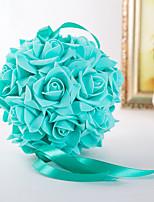 Bouquets de Noiva Redondo / Forma-Livre Rosas Decorações Casamento / Festa / noiteAzul / Fúcsia / Rosa / Verde / Branco / Roxo / pêssego