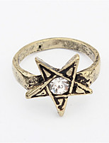 Europe And Five-Pointed Star Alloy Ring Exaggerated