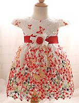 Vestido Chica de-Casual/Diario-Floral-Algodón / Poliéster-Verano-Azul / Rojo