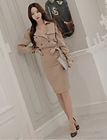 Women's Going out Simple Trench Coat,Solid Notch Lapel Long Sleeve White / Yellow Polyester
