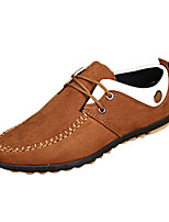 Men's Flats Spring / Fall Moccasin / Comfort Leatherette Casual Flat Heel Lace-up Black / Blue / Brown Walking