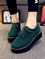 Scarpe Donna-Sneakers alla moda-Casual-Punta arrotondata-Zeppa-Finta pelle-Nero / Verde