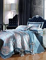 Blue Bedding Set Queen King Size Luxury Silk Cotton Blend Lace Duvet Cover Sets Jacquard Pattern