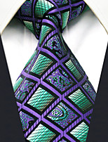 Men's100% Silk  Tie Purple  Checked  Necktie Jacquard Woven