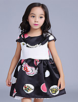 Girl's Black Dress,Print Cotton Summer