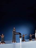 Widespread Three Handles Five Holes in Rose Gold Bathtub Faucet