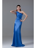 Formal Evening Dress Trumpet / Mermaid One Shoulder Sweep / Brush Train Stretch Satin with Pleats