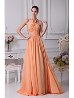 Formal Evening Dress A-line Halter Floor-length Chiffon with Beading / Pleats