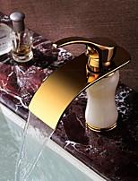 Widespread Waterfall Single Handle in Ti-PVD Finish Jade  Bathroom Sink Faucet Deck Mounted