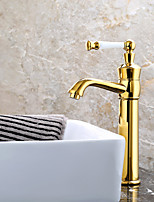 Fashion Single Handle One Hole Ti-PVD Bathroom Sink Faucets - Gold