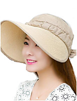 Women Summer Solid Straw Clothes Patchwork Middle Brim Foldable Straw Sun Hat