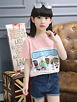 Girl's Blue / Pink / Red Tee,Print Cotton Summer