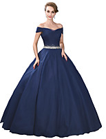 Formal Evening Dress Ball Gown Off-the-shoulder Floor-length Satin / Tulle / Stretch Satin