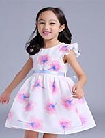 Girl's Pink Dress,Floral Cotton Summer