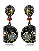 Vintage Round Disk drop Black Gold plated Fuchsia Cubic Zirconia Drop earrings for women