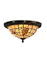 Retro Tiffany Ceiling Lamp /Shell Shade Flush Mount Living Room Dining Room light Fixture