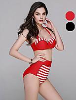 Venus queen Plus Size Women's Halter Bikini,Push Up / High Rise Nylon / Spandex Red / Black