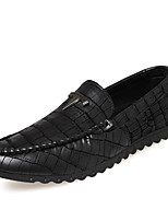Men's Shoes PU Casual Loafers Casual Flat Heel Black / Blue / Khaki