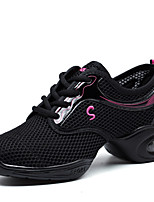 Non Customizable Women's Dance Shoes Synthetic Dance Sneakers Sneakers Low Heel Performance Fuchsia Black White
