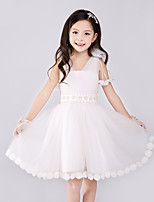 A-line Knee-length Flower Girl Dress-Cotton / Organza / Satin Sleeveless