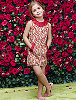 Girl's Red Dress,Print Cotton / Polyester Summer / Spring / Fall