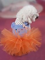 Собаки Платья Оранжевый / Белый Одежда для собак Лето / Весна/осень Мультфильмы Мода / Праздник