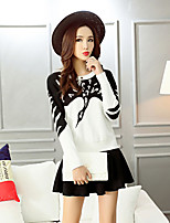 Women's Print Red / White / Black Set,Cute / Street chic Long Sleeve