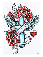 8PCS Long Last Waterproof Tattoo Temporary for Women Men Wolf Cross Sword Flower Arm Sleeve Back Body Art Tattoo Sticker