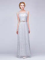 Formal Evening Dress A-line Scoop Floor-length Lace