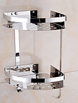 de aço inoxidável cesta de armazenamento triangular banheiro double-deck