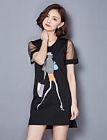 Women's Casual/Daily / Plus Size Street chic A Line / T Shirt Dress,Print Round Neck Mini Short Sleeve White / Black Cotton Summer