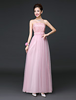 Ankle-length Lace / Satin / Tulle Bridesmaid Dress A-line Strapless with Lace